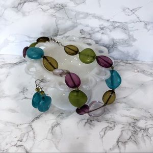 Colorful Resin Statement Necklace & Earrings Set